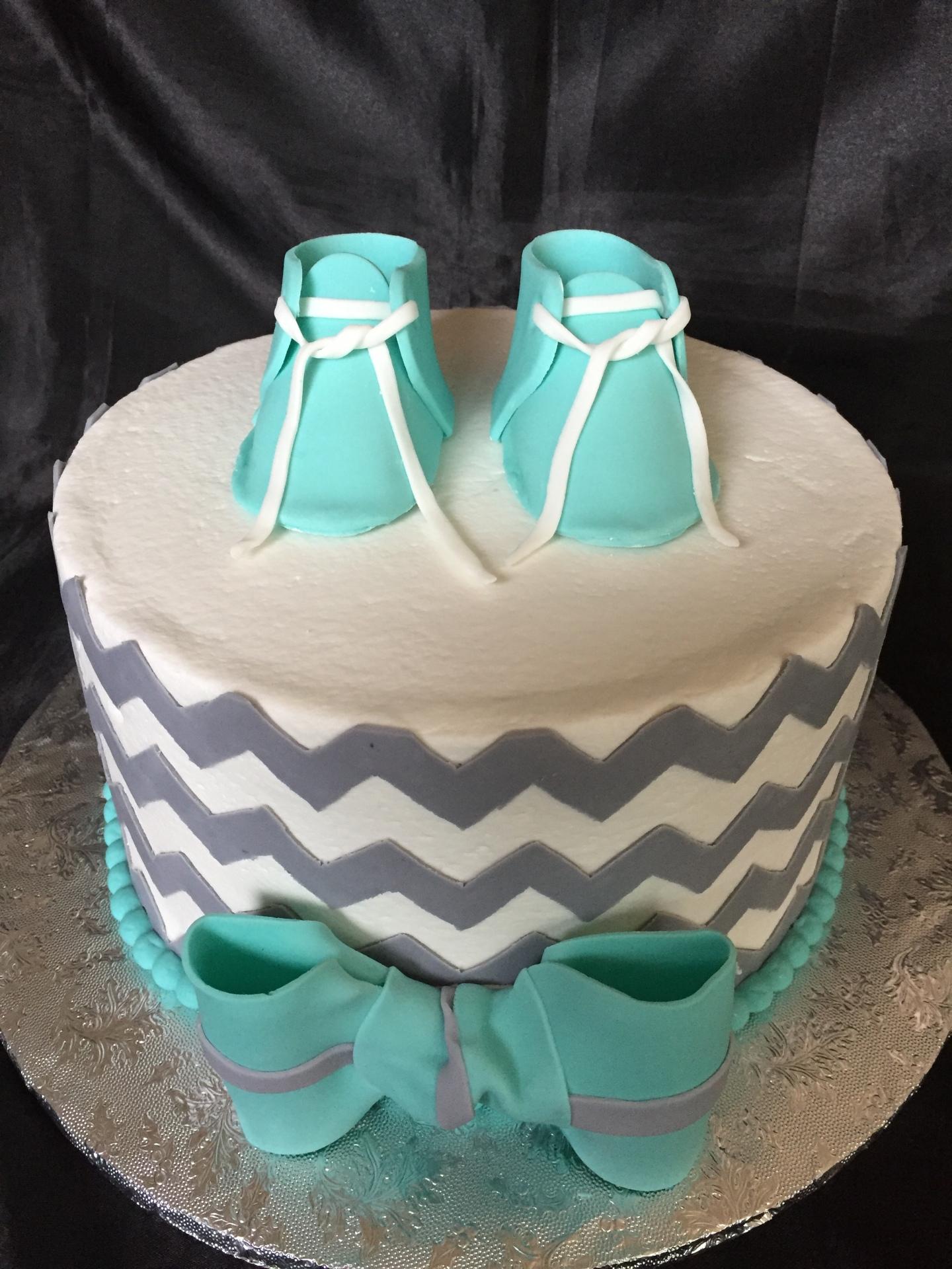 Chevron gray and tiffany baby shoes