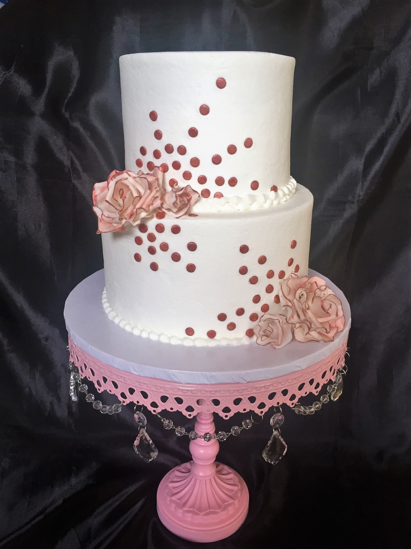 Rose gold roses and dots