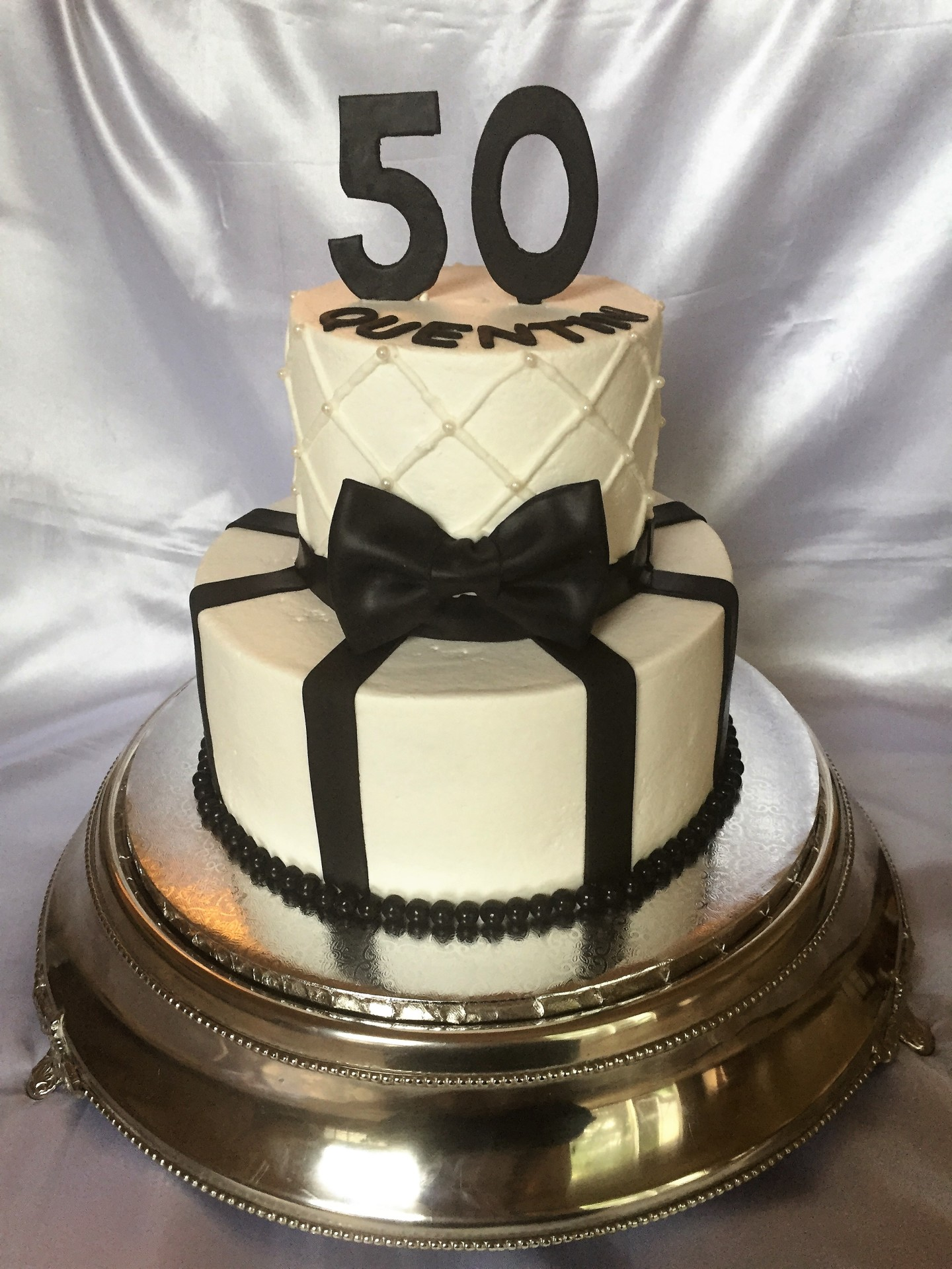 50th simple 2 tiered white