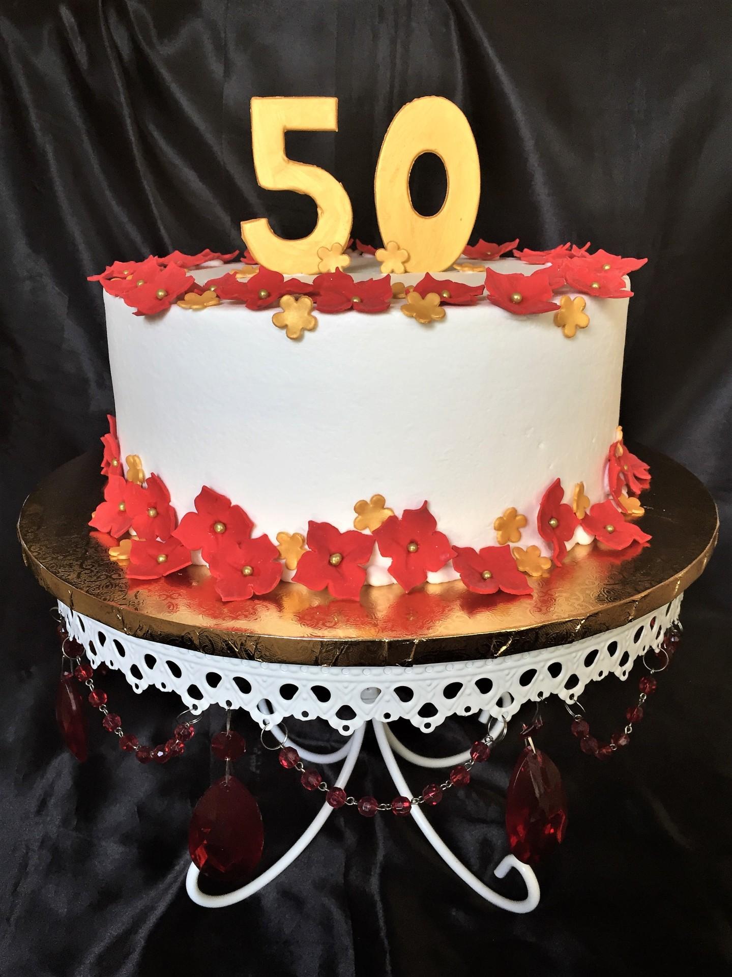5oth with red hydrangeas