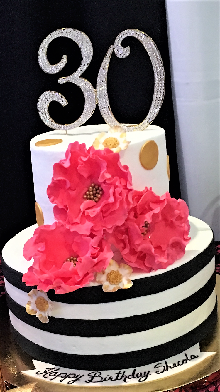 black stripes,hot pink flowers 30th