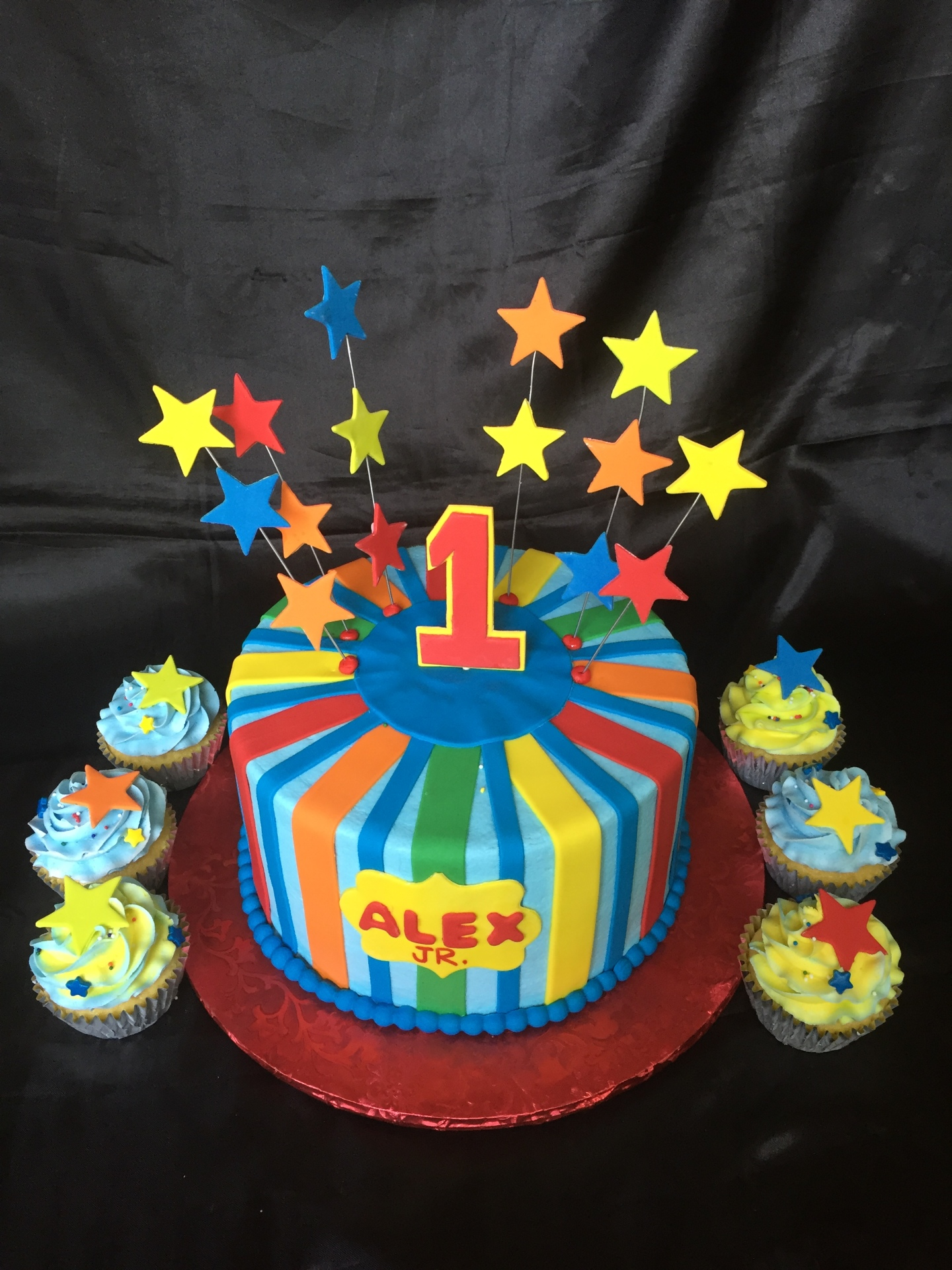 Colorful 1st birthday cake with stars
