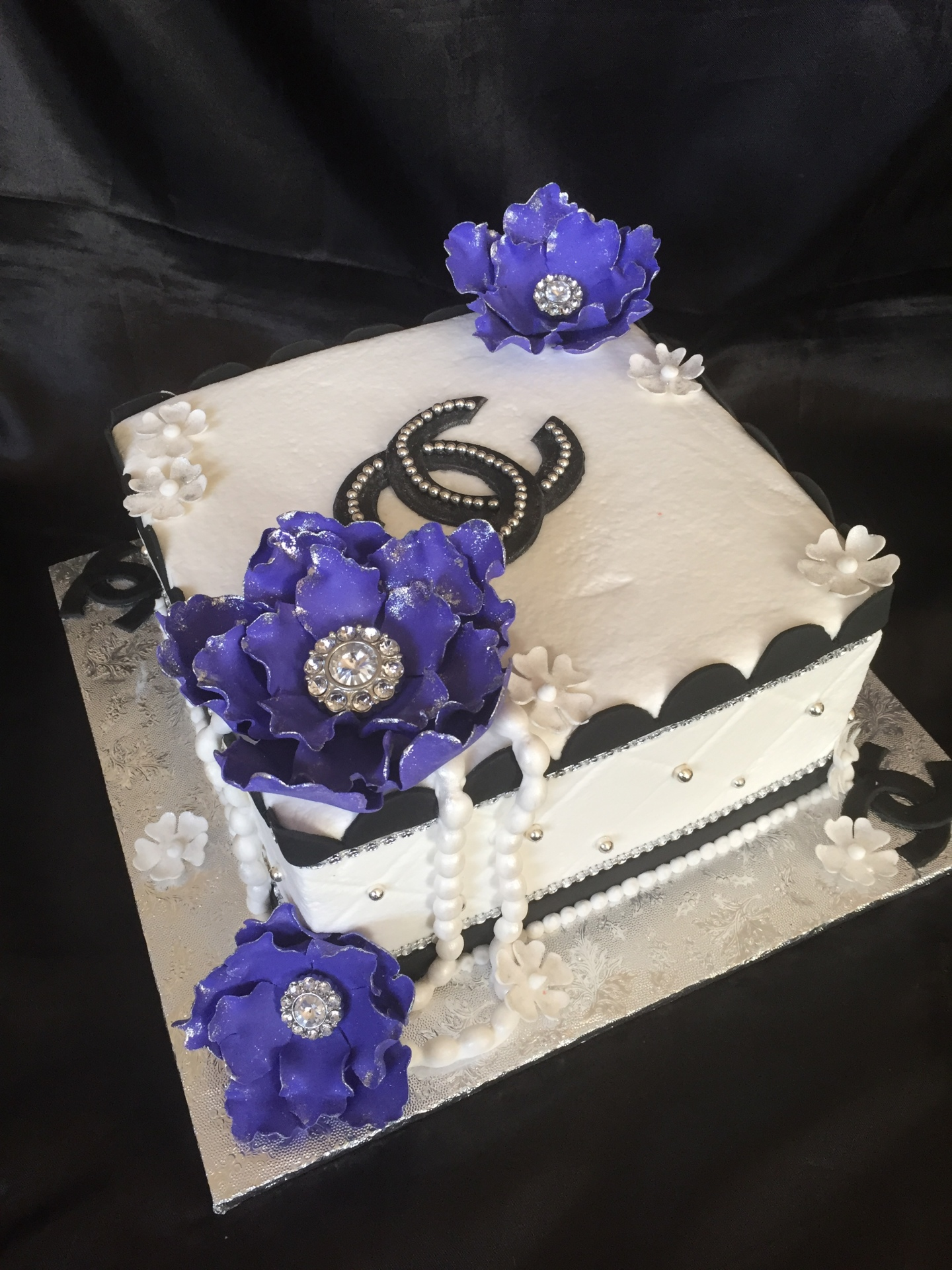 Chanel glam black and white with purple flowers square