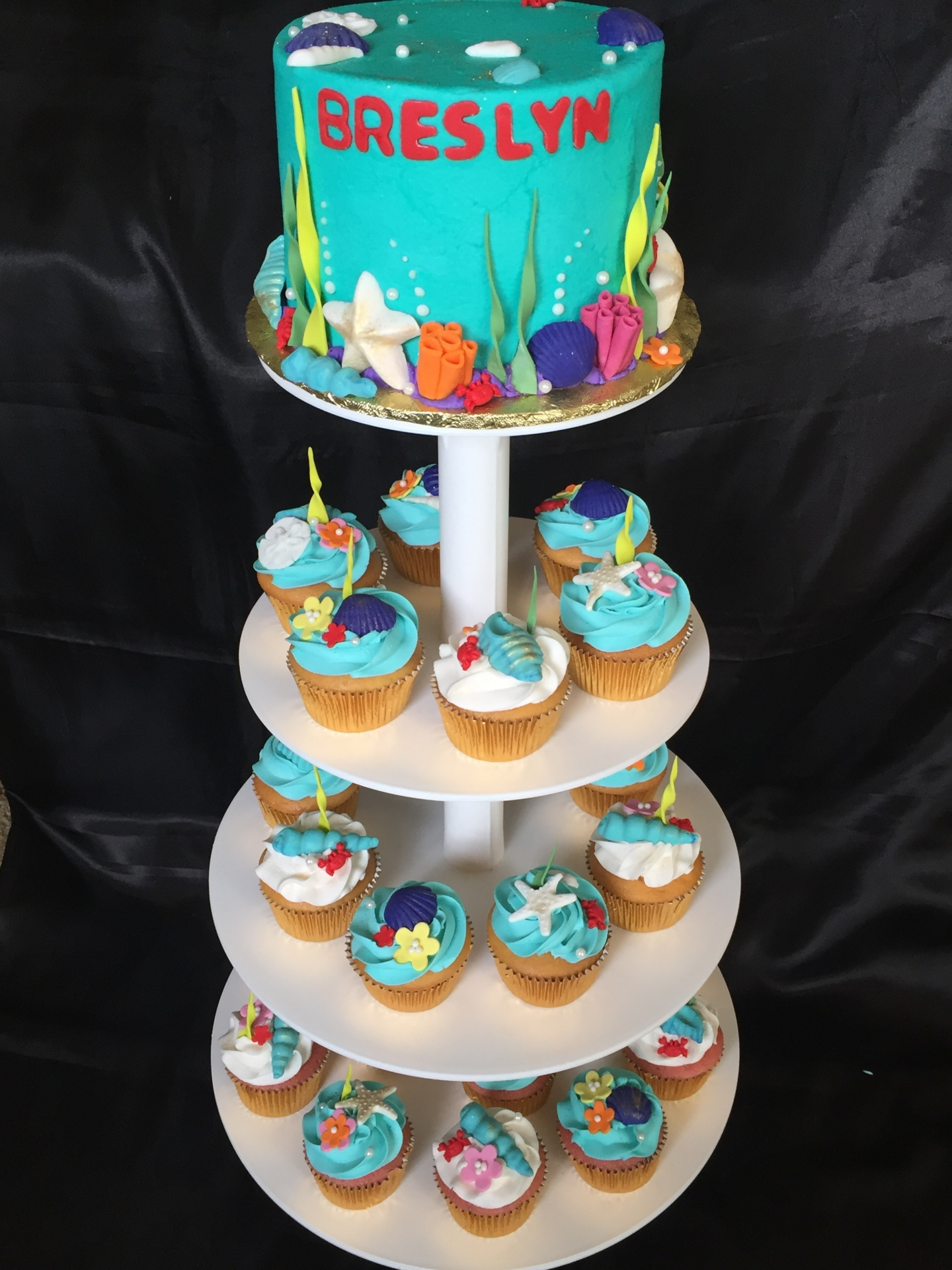 Mermaid theme cupcake tower