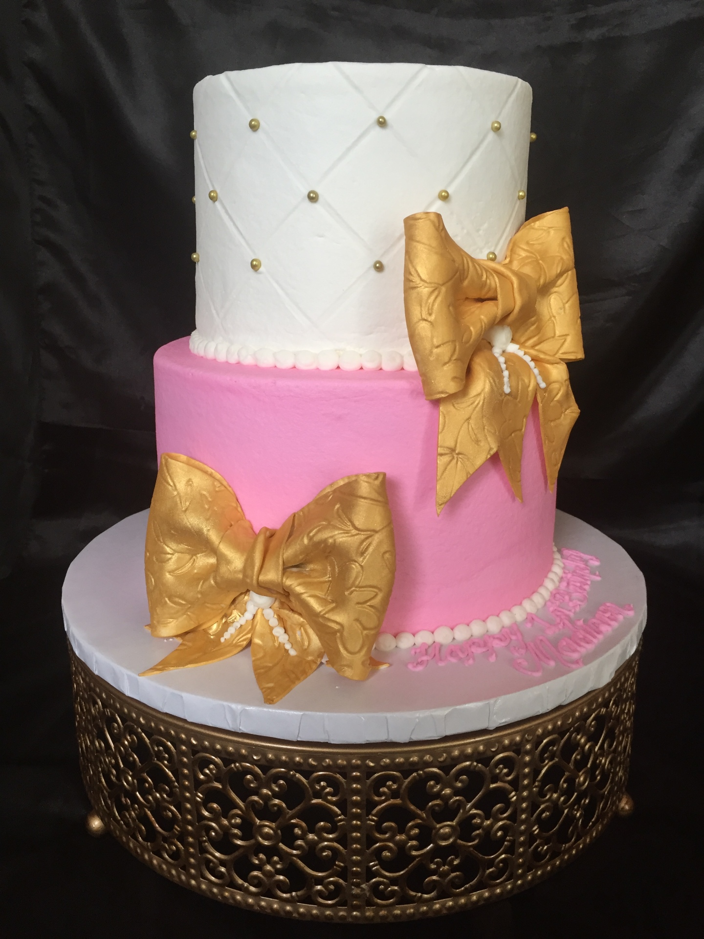 Gold bows pink and white tiered before tiara topper