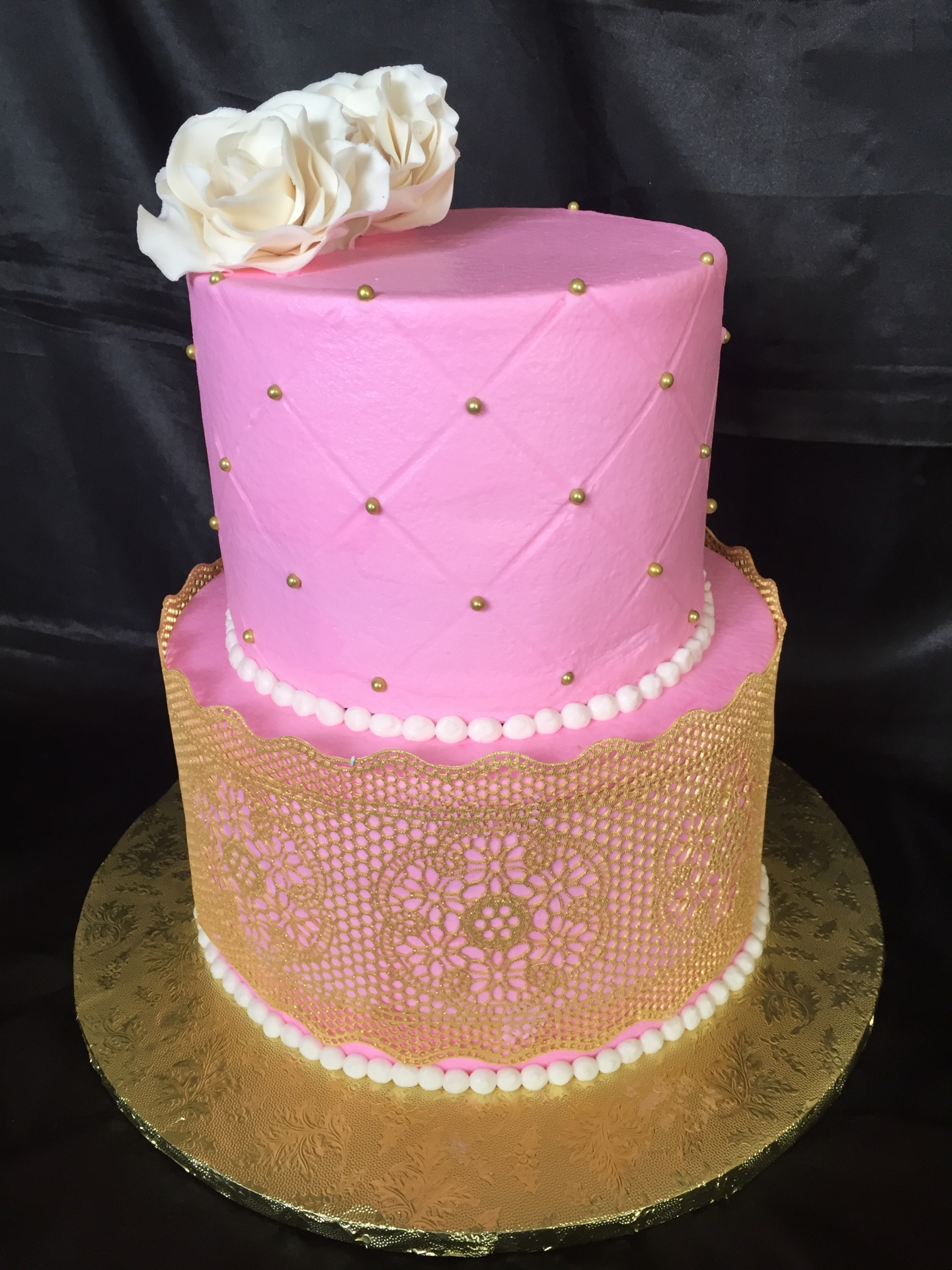 Gold lace pink bridal shower