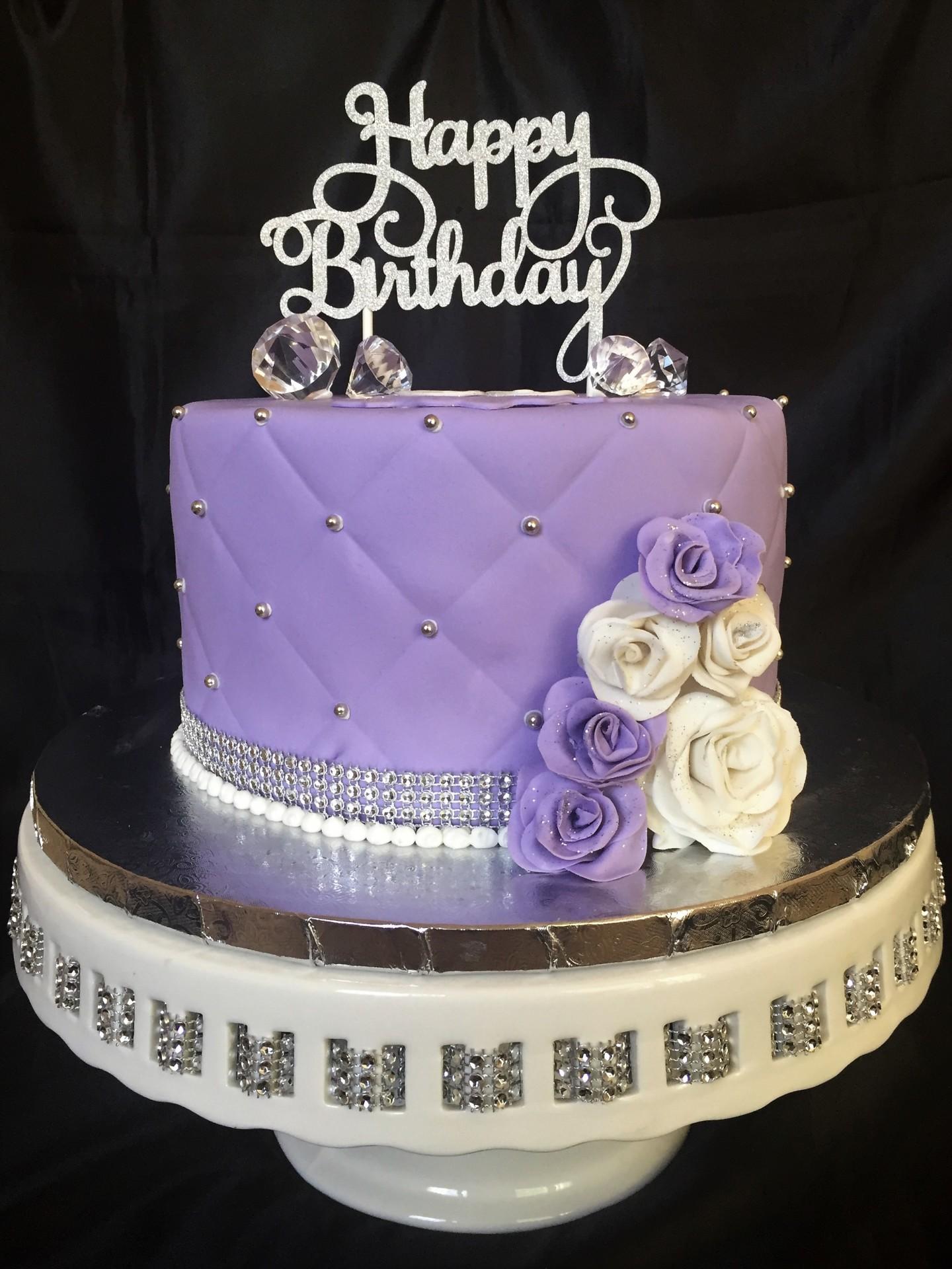 Lavender fondant bling,sugar flowers and diamonds