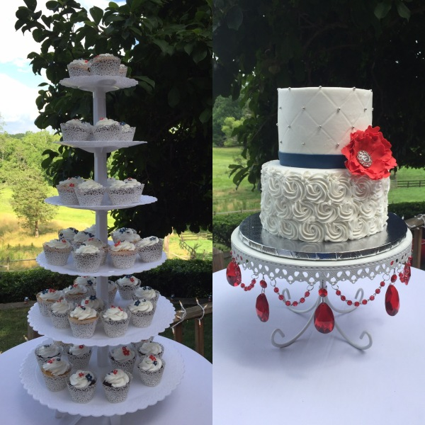 Navy red tiered cake and cupcakes