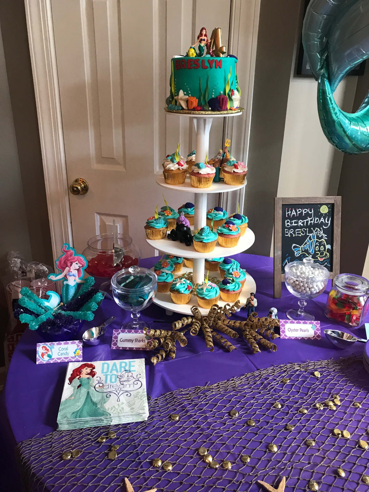 Little Mermaid cake and cupcakes