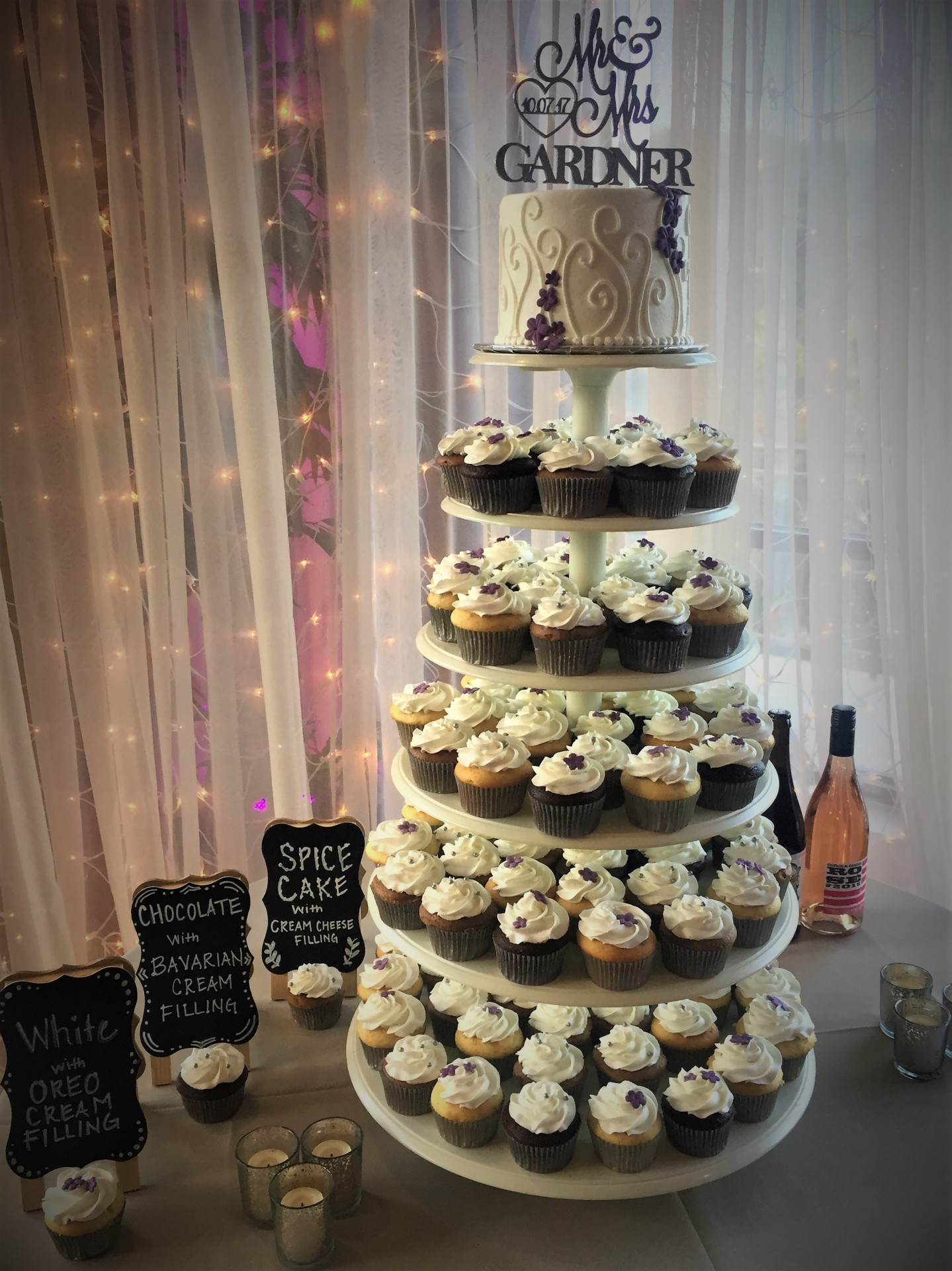 Gray and purple cupcake tower