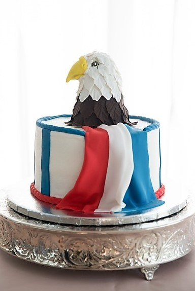 American flag and Eagle groom's cake