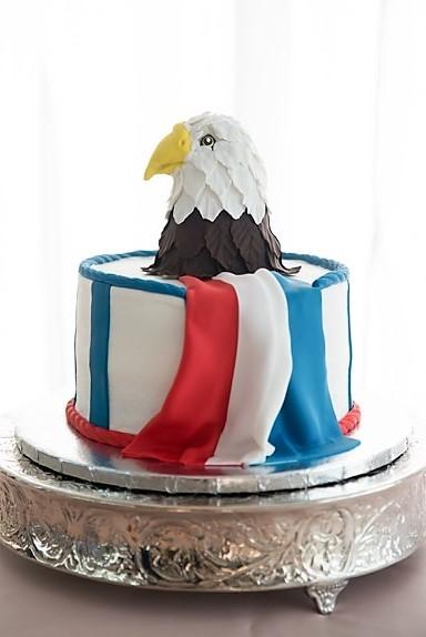 American flag and Eagle groom's cake