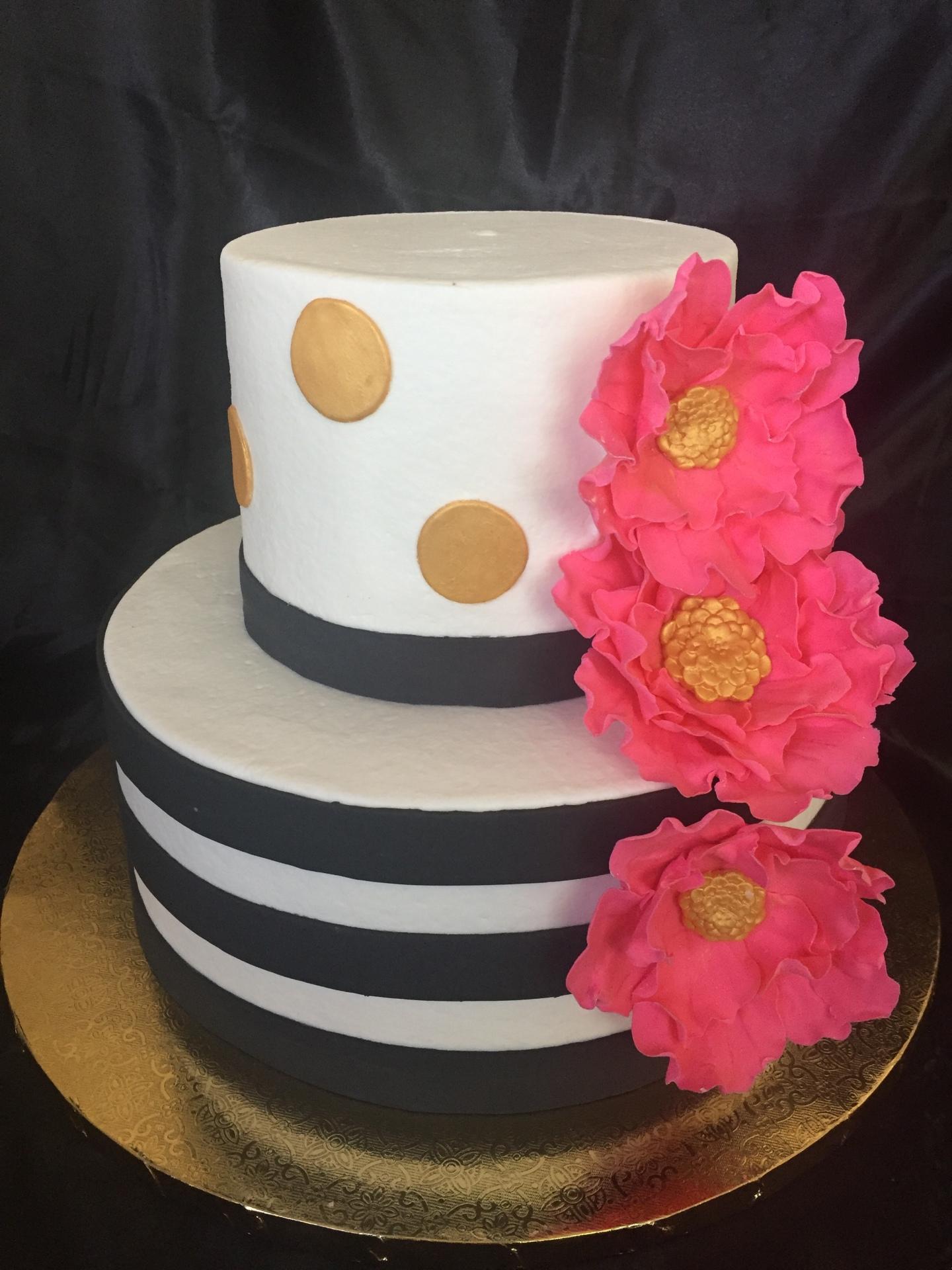 Black stripes hot pink flowers gold dots 2