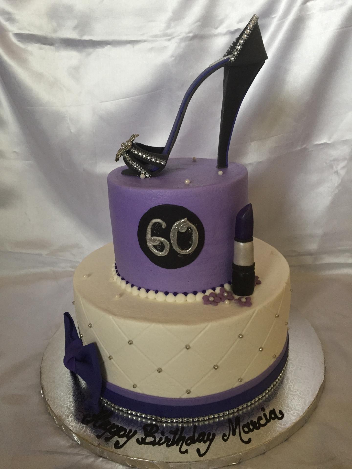 Black glam heel 2 tier white and purple