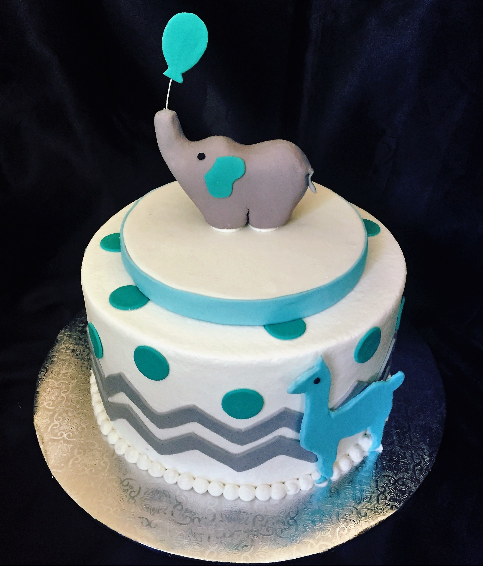 Elephant and llama buttercream chevron