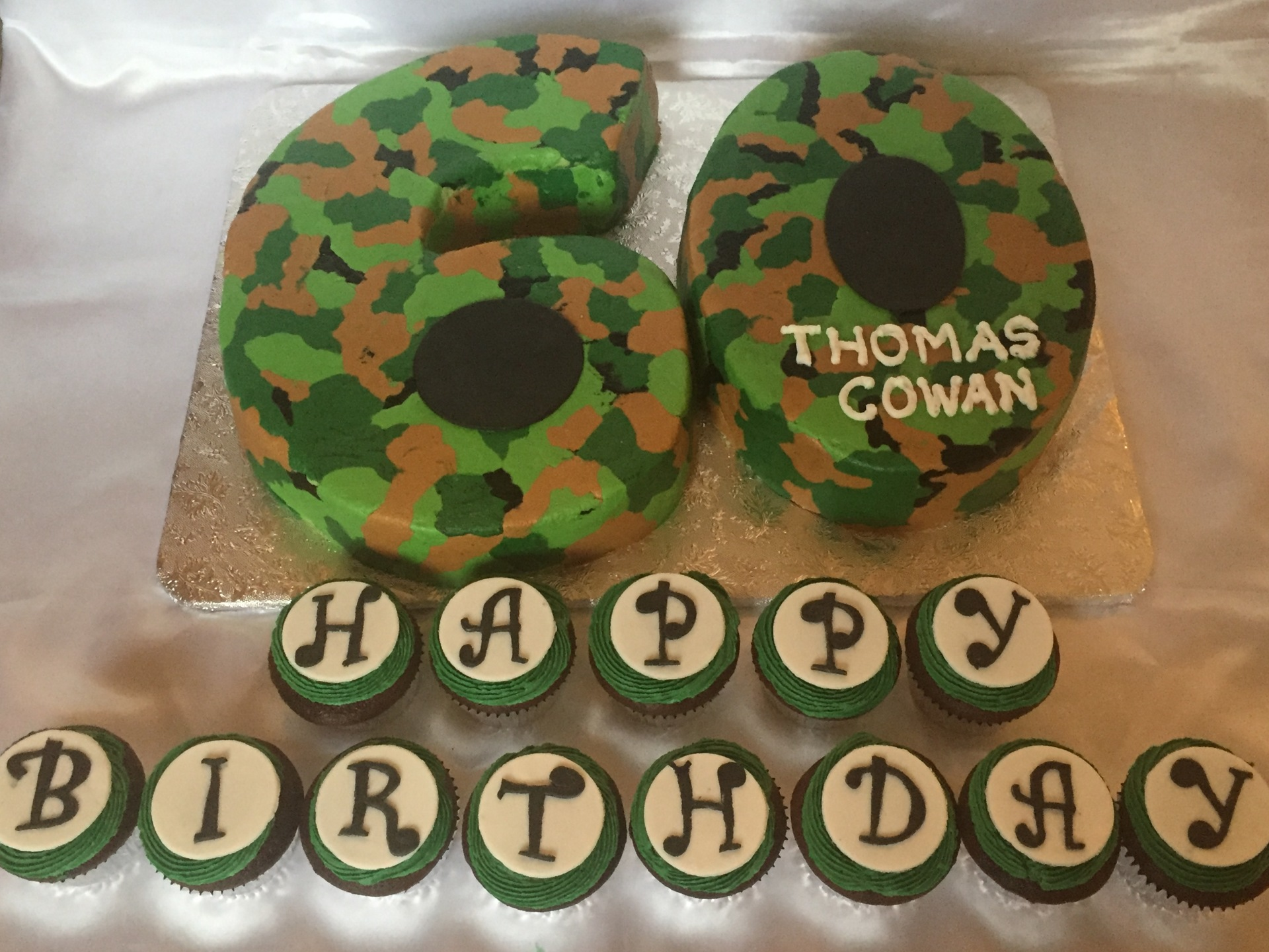 Number 60 camo buttercream