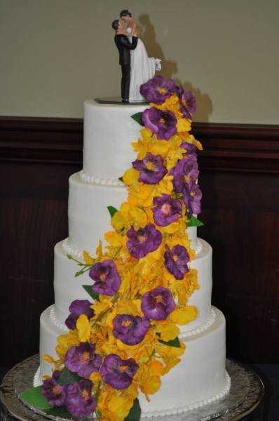 Cascading silk pansies