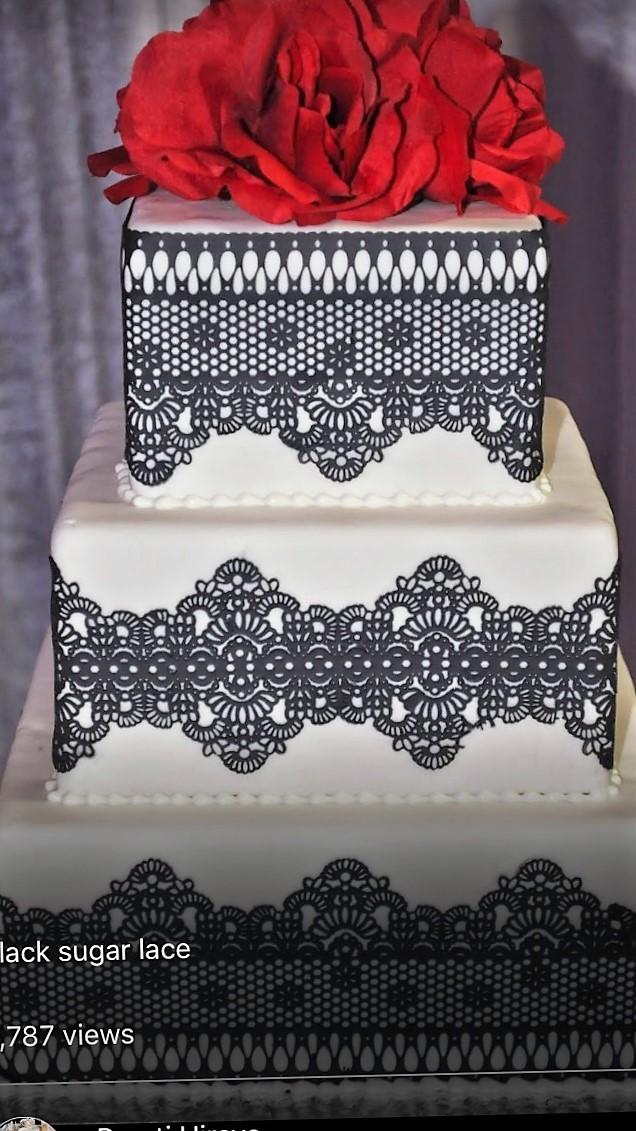Black sugar lace square fondant