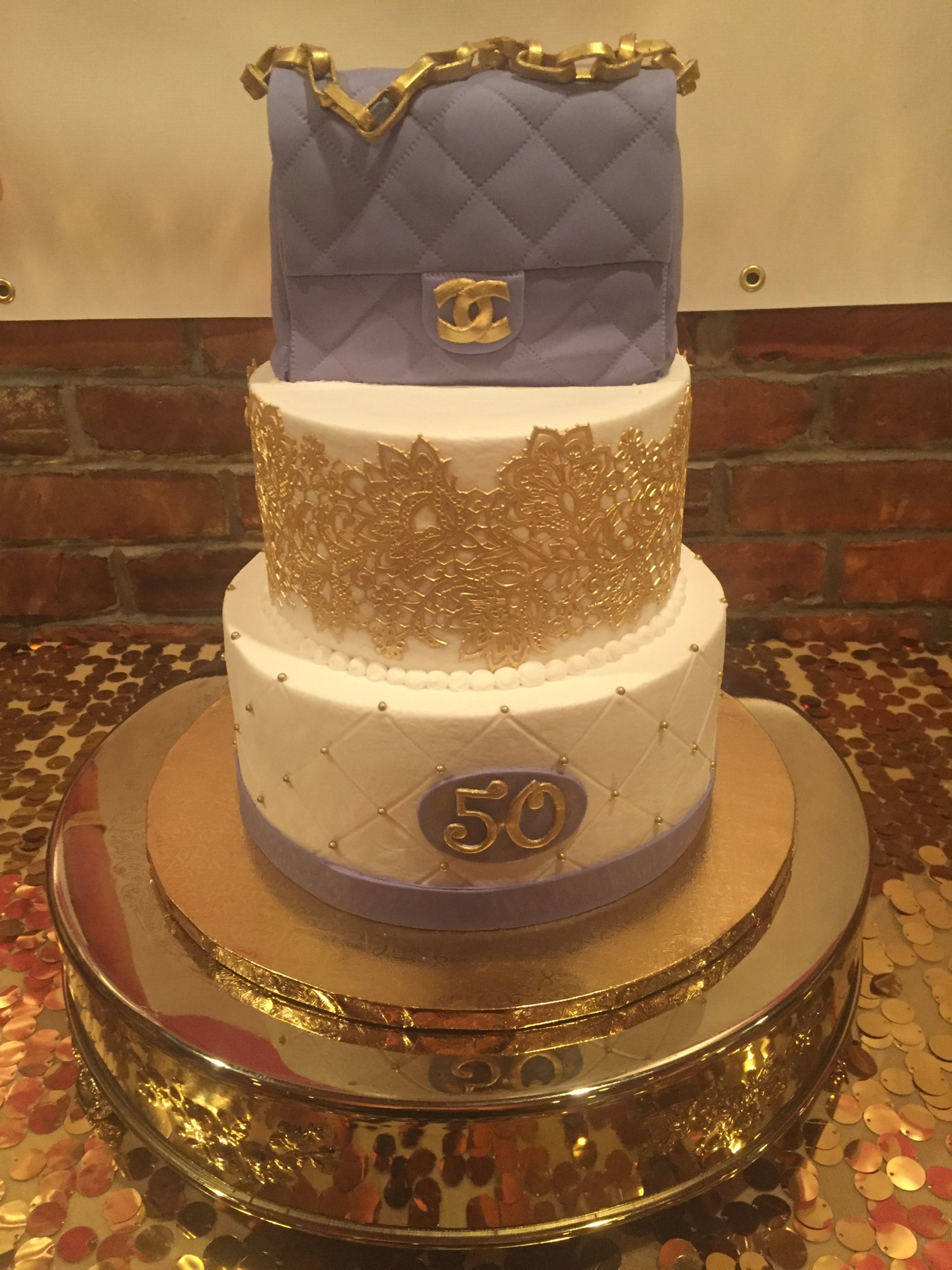Gold lace and purse tiered 50th