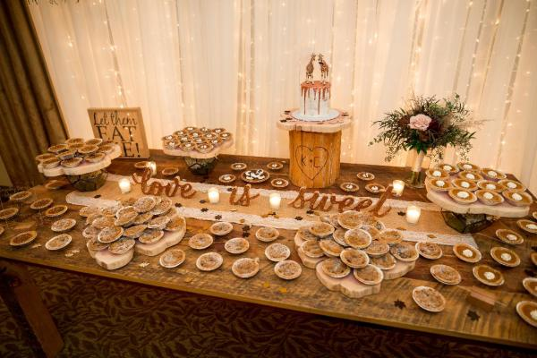 The semi naked hexagon cake just for the special couple was the centerpiece of this pie table!(Pies not made by I Want Pretty Cakes! photo by A.E.Landes Photography)