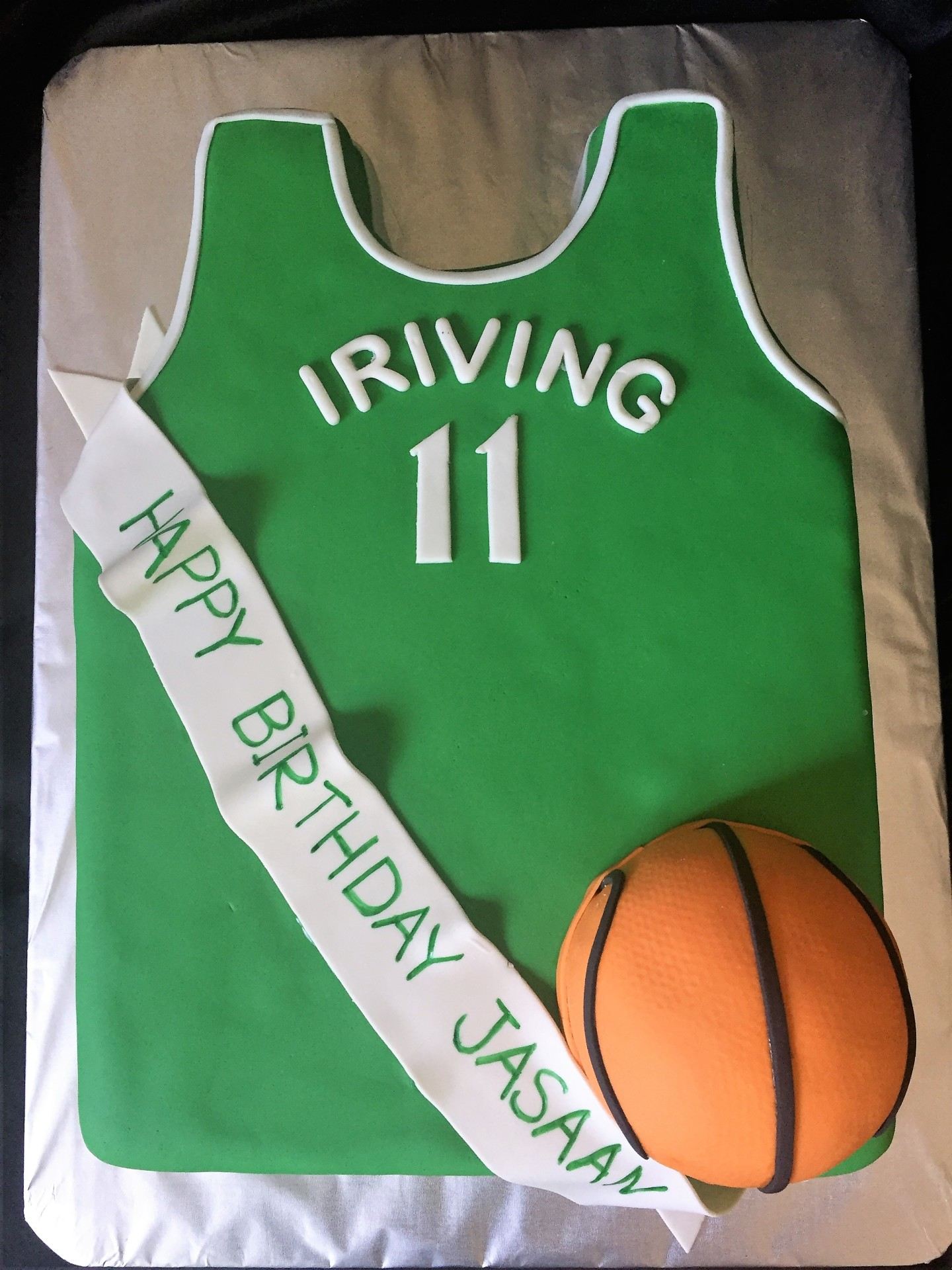 Green jersey basketball