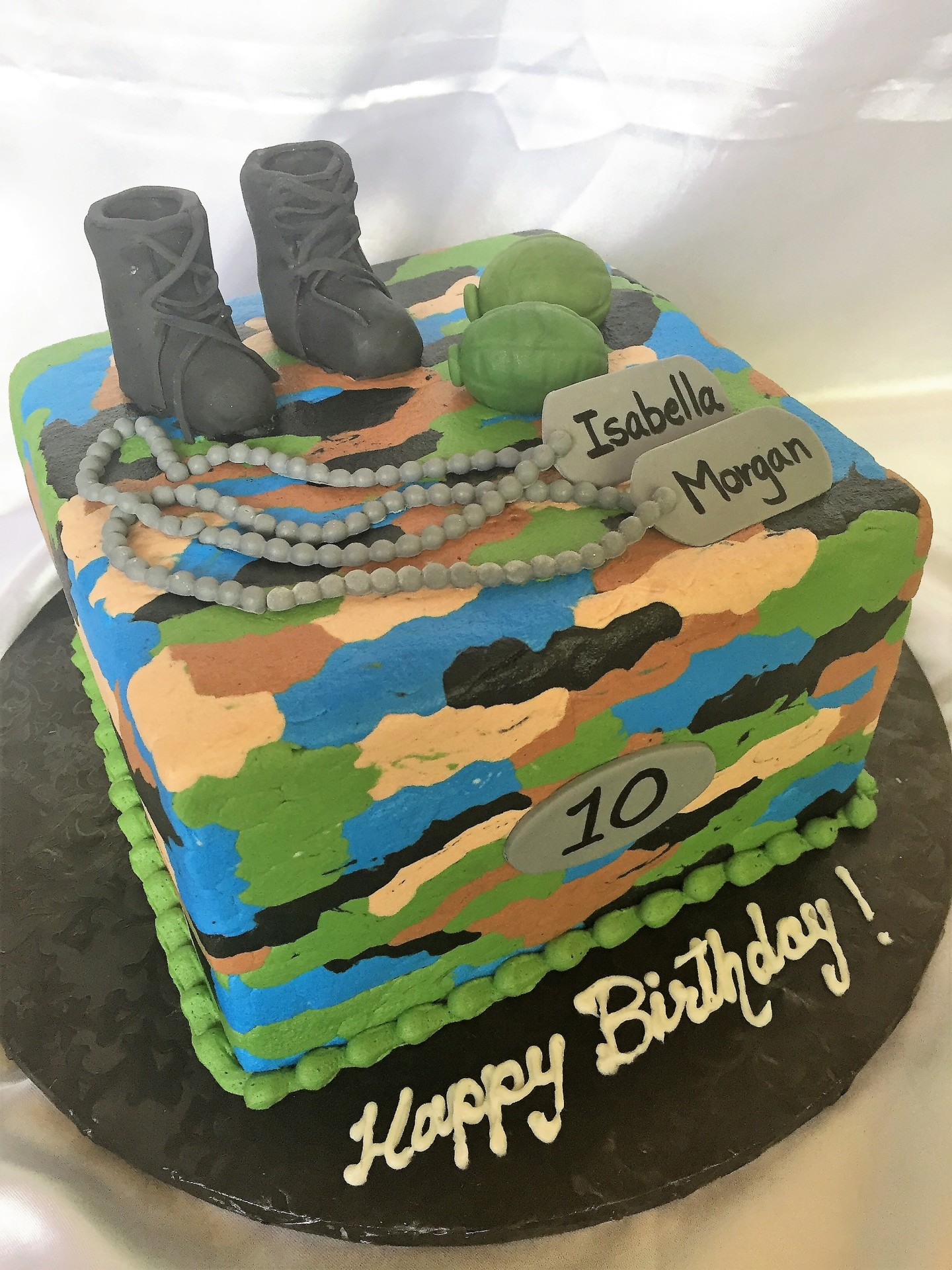 Blue buttercream camo with boots and tags