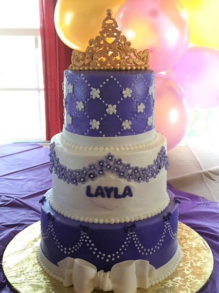 Purple and white buttercream Princess shower