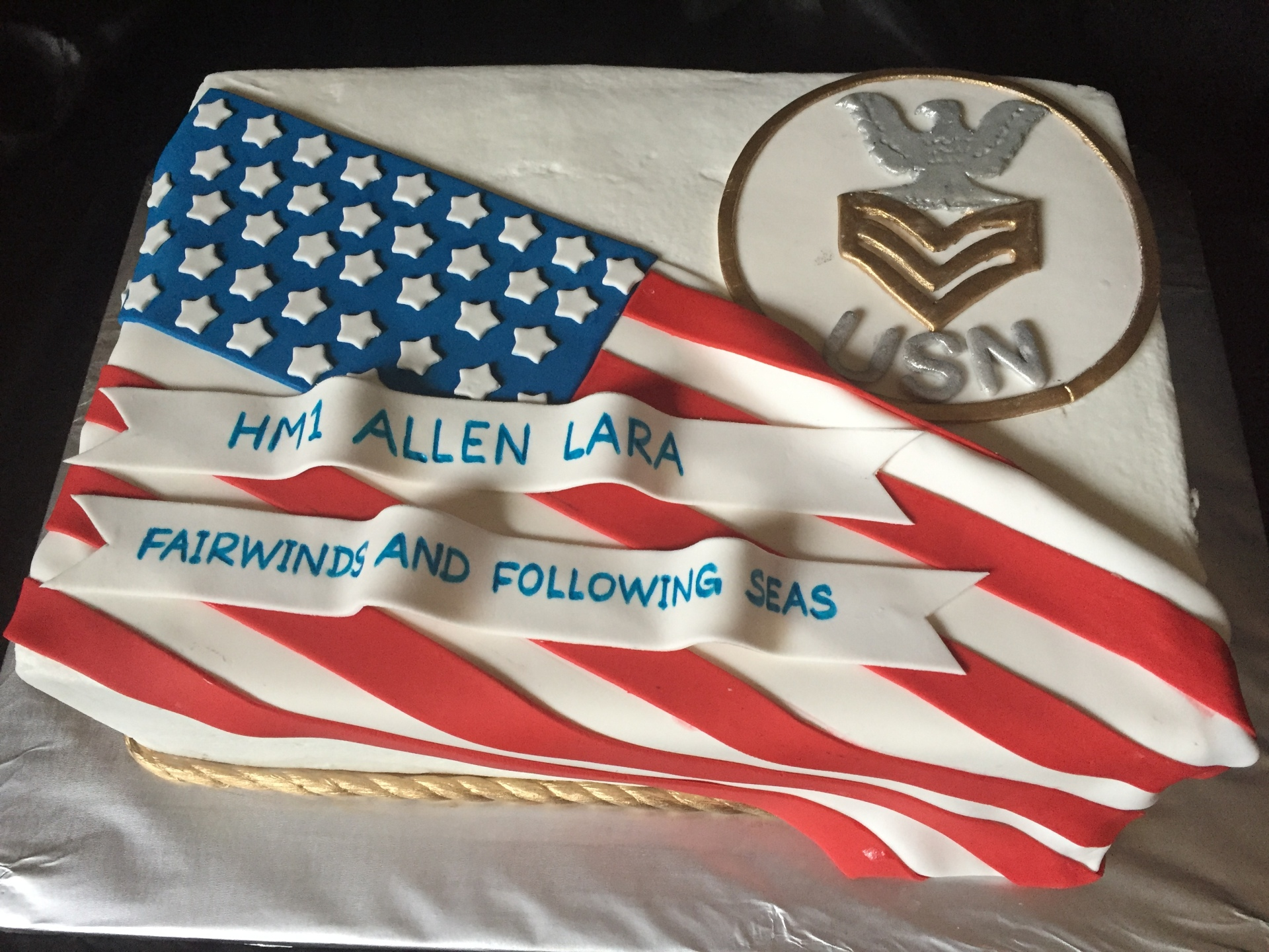 Navy Retirement flag drape