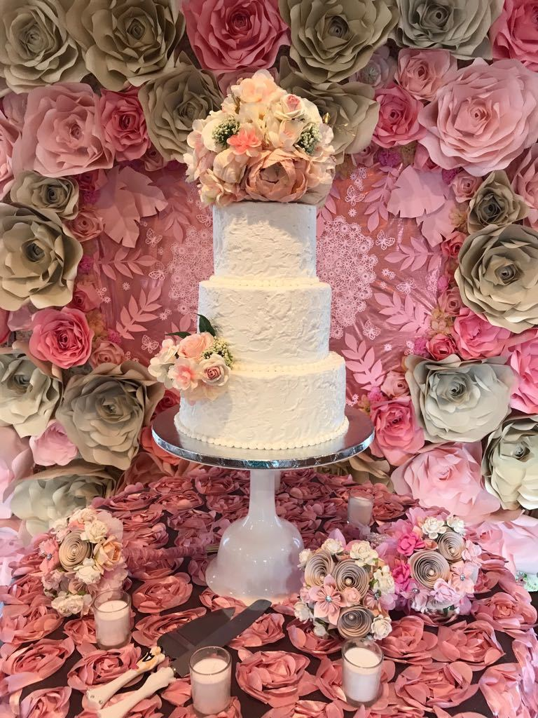 Rustic buttercream with silk and paper flowers