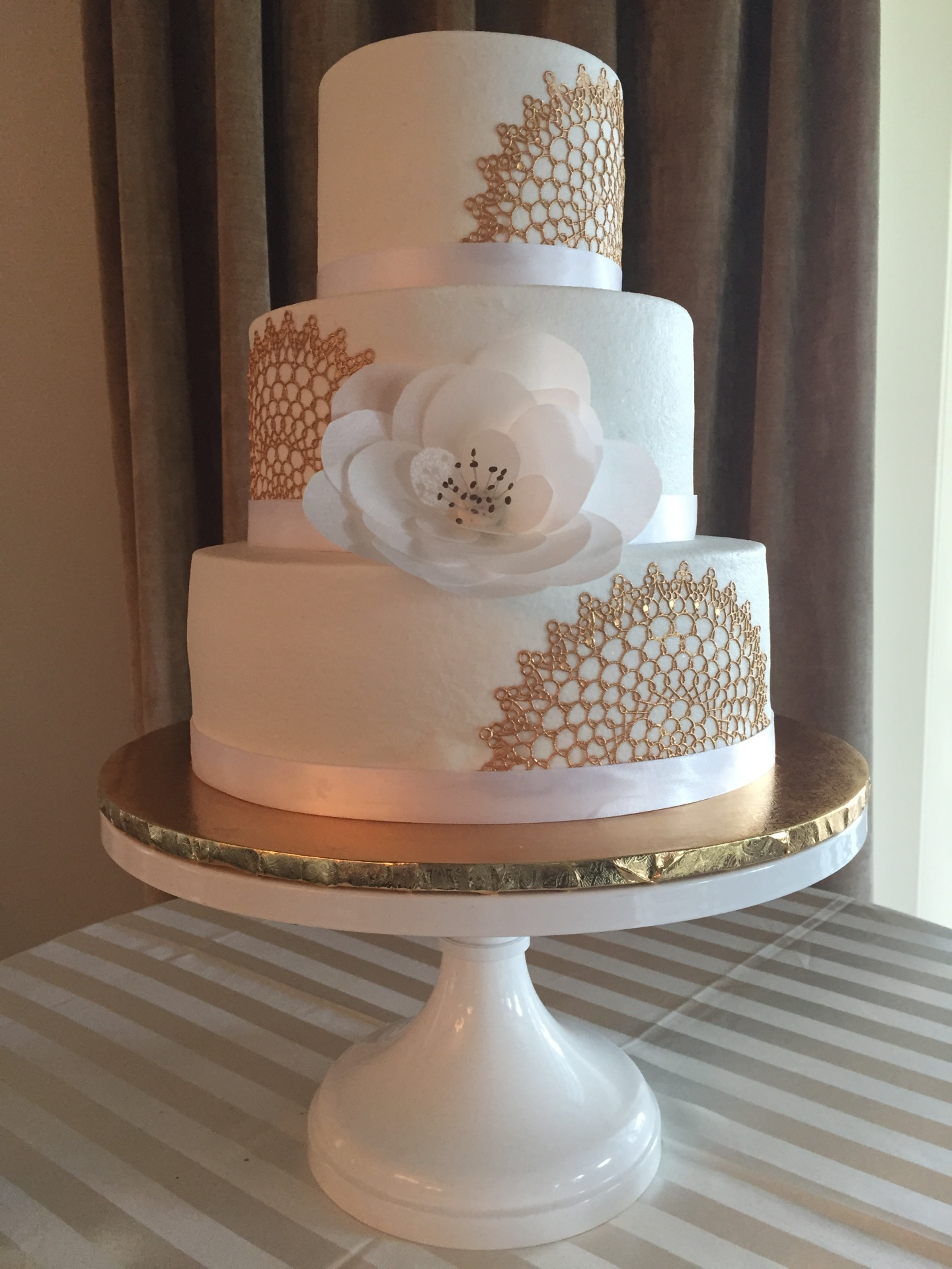 Gold medallion lace and wafer paper flower