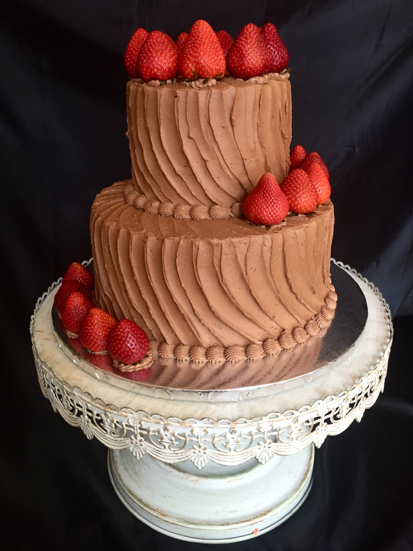 Rustic chocolate icing groom's cake