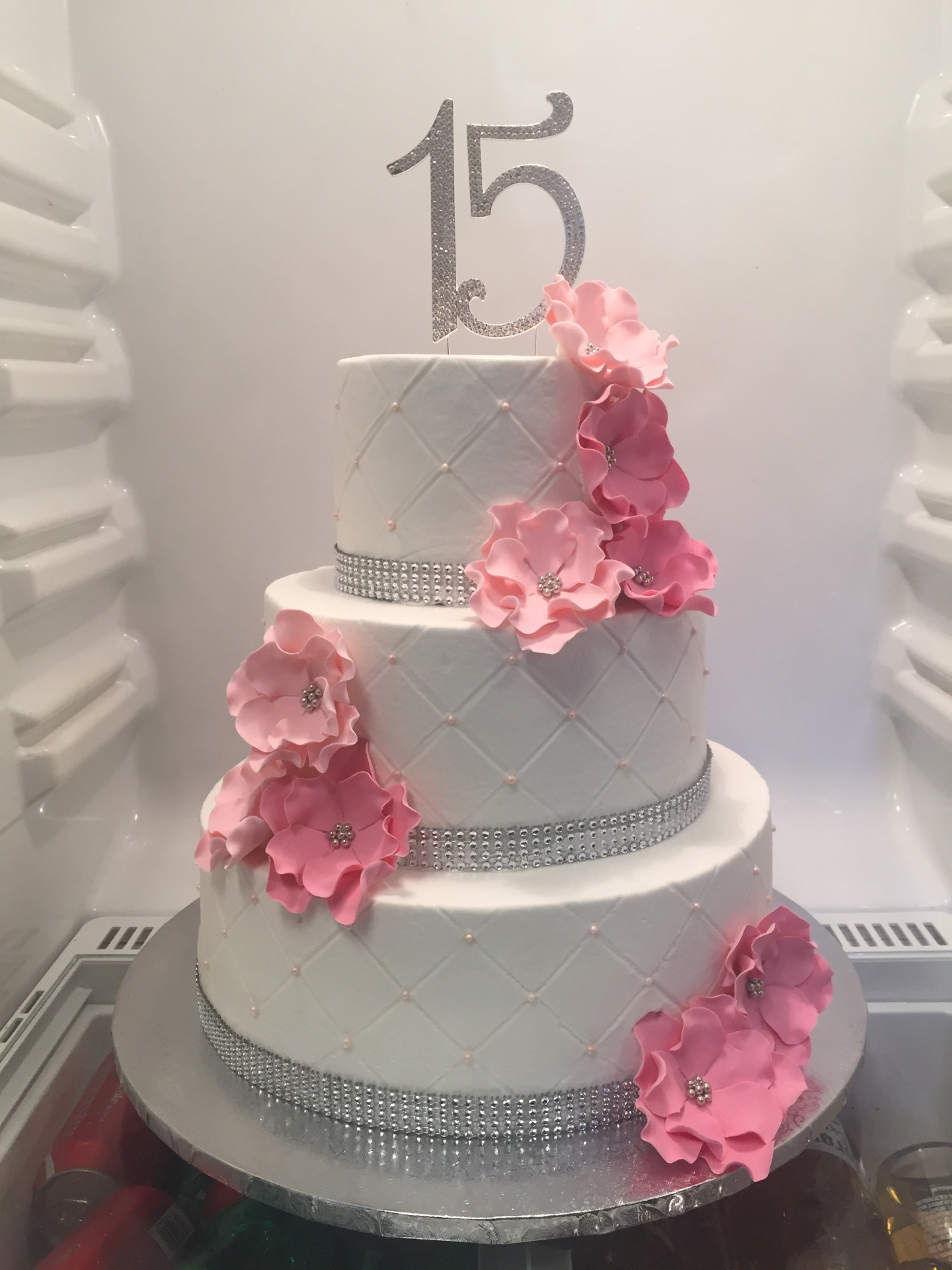 Quilted Quinceneara with sugar flowers