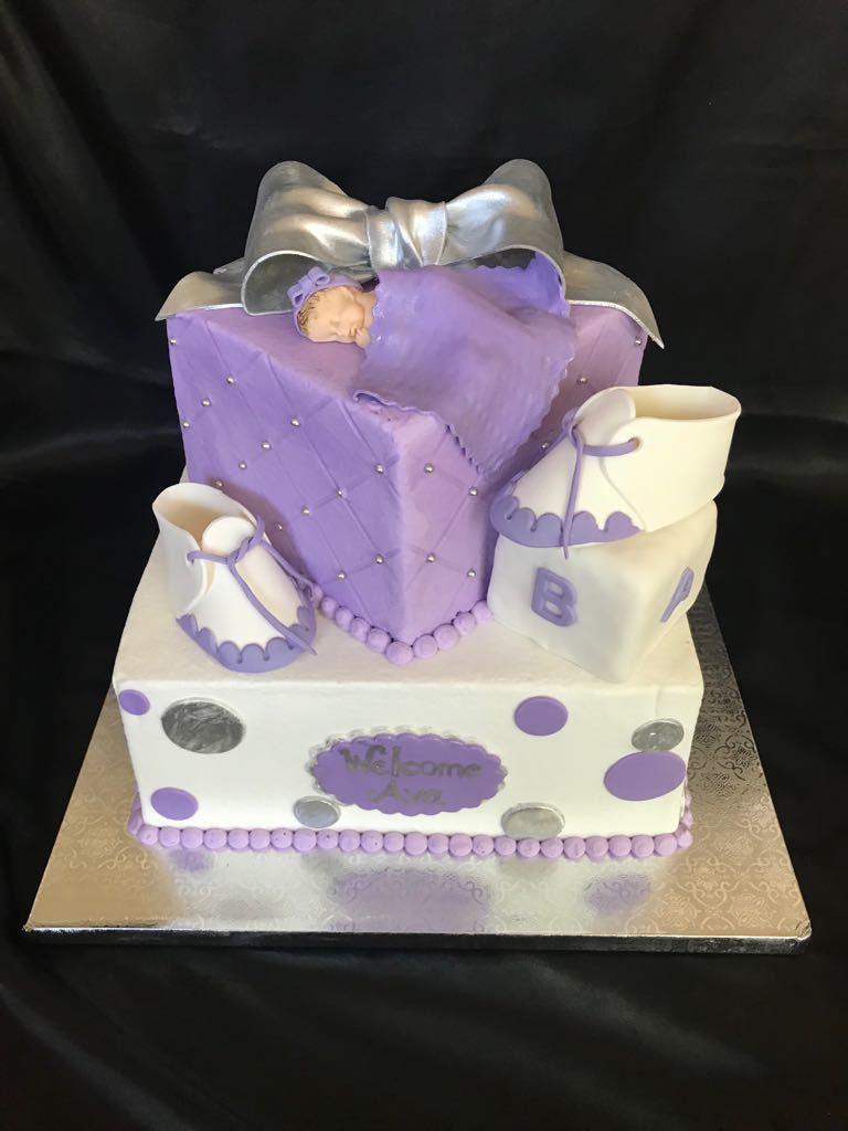 Lavender Silver and White square tiers