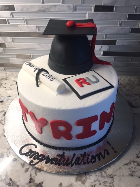 Red and Black grad cake