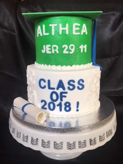 Green and Blue tiered grad cake
