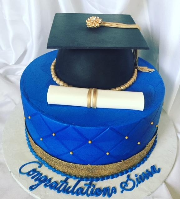 Royal Blue graduation cake