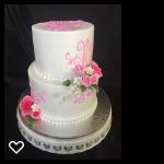 Pink scrolls and gumpaste flowers