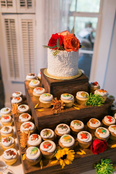Rustic fall cupcake set up(Photo by Nicole Haun Photography)
