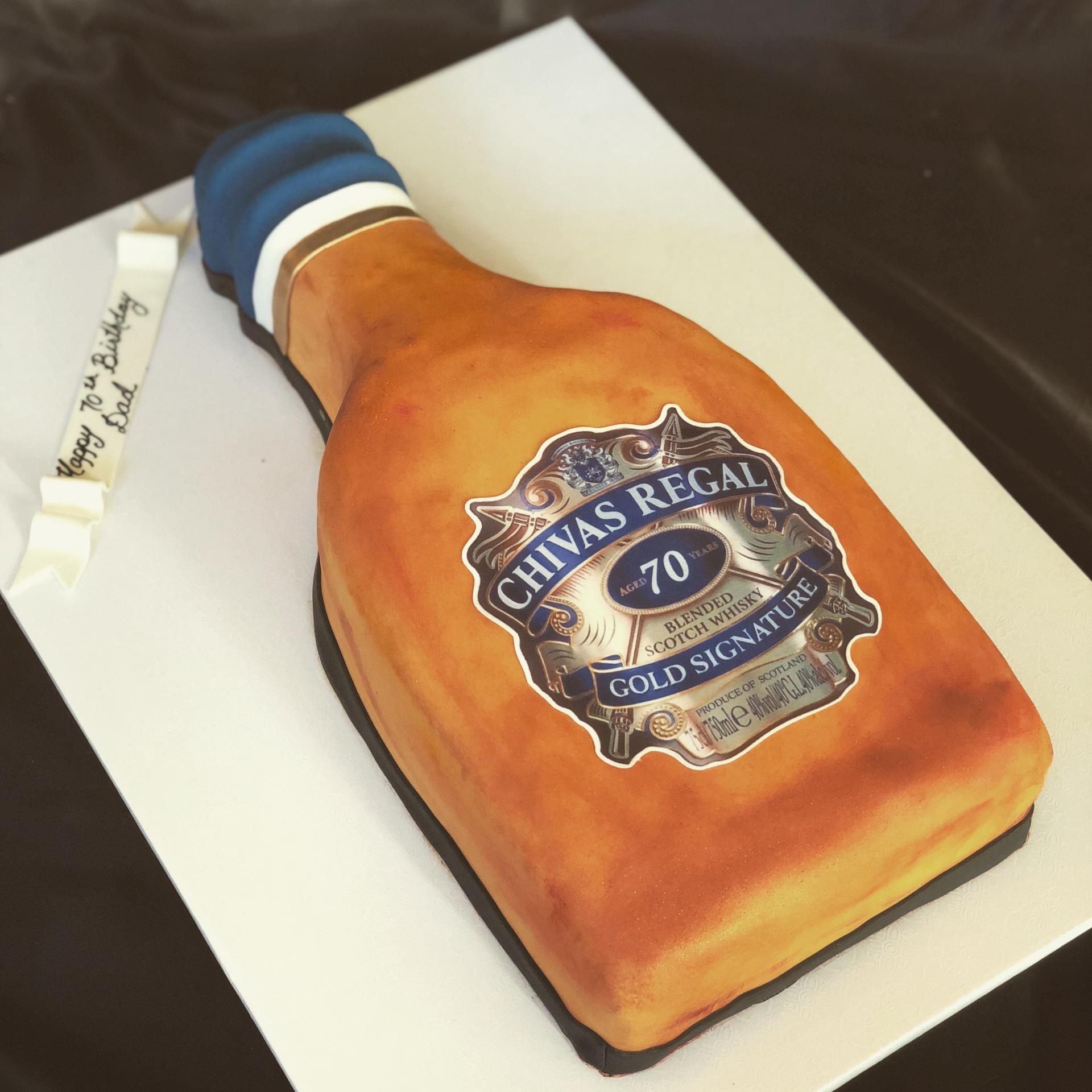 Chivas Regal carved bottle fondant cake