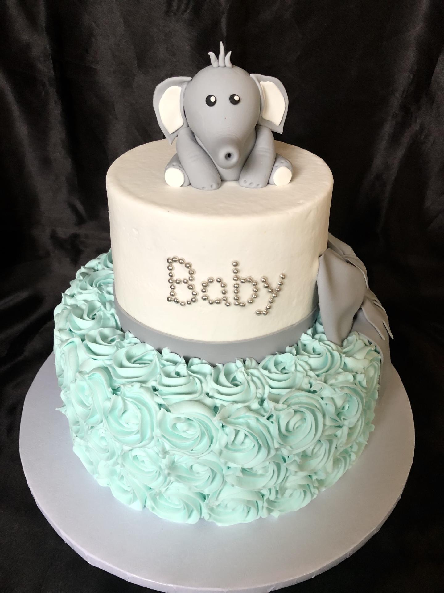Baby elephant and turquoise rosettes