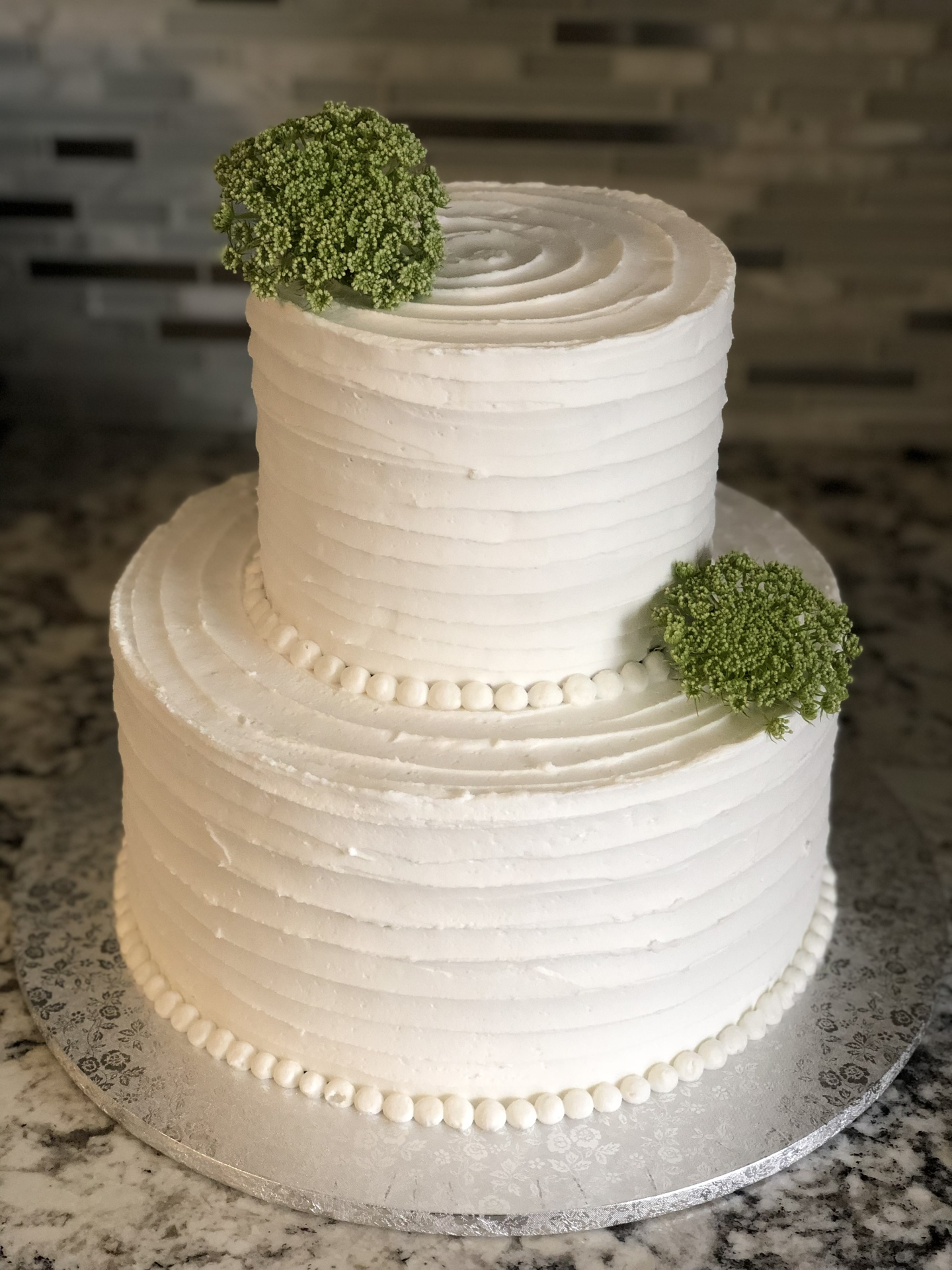 2 tier rustic banded buttercream