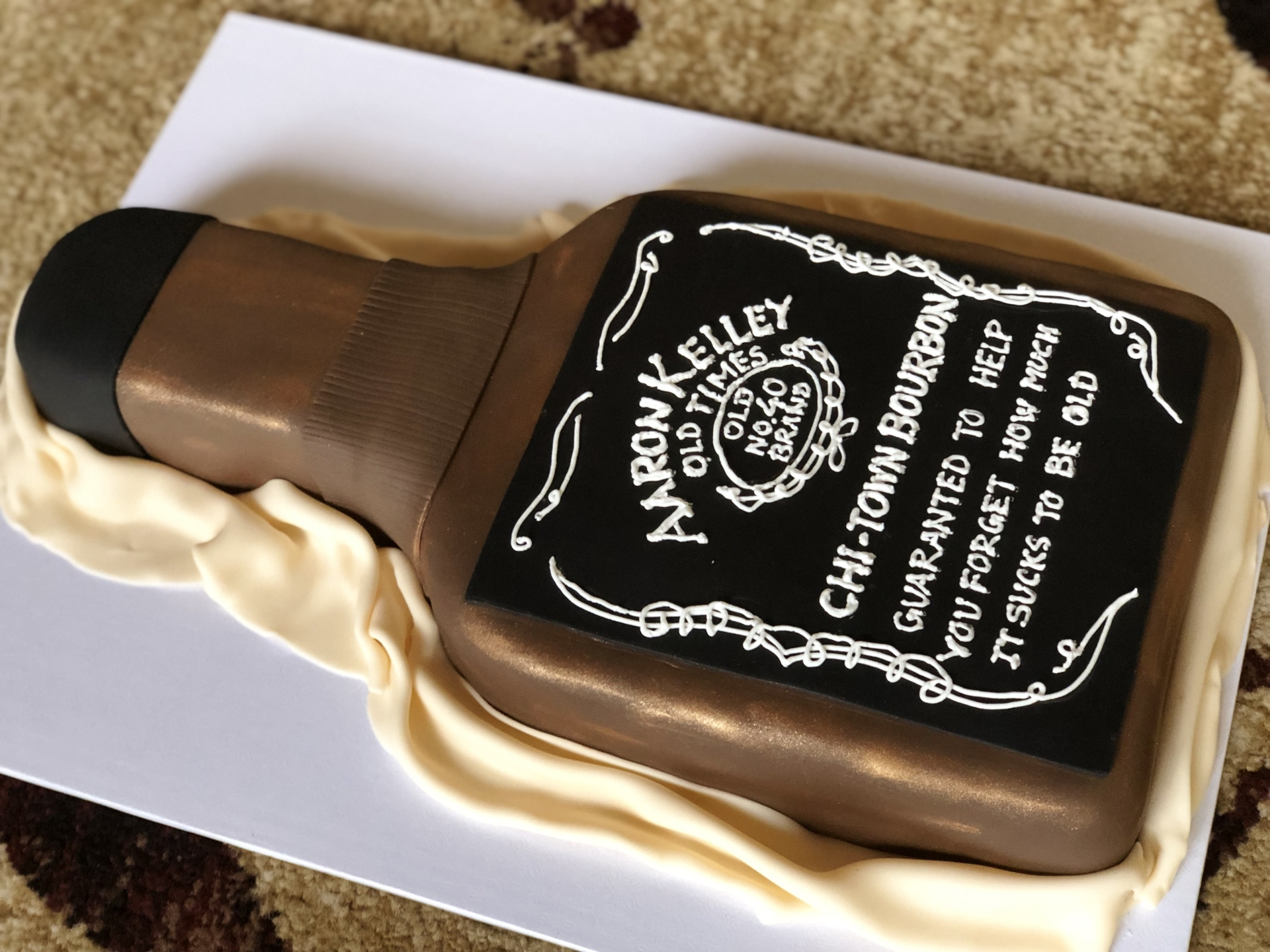 Whiskey bottle cake personalized