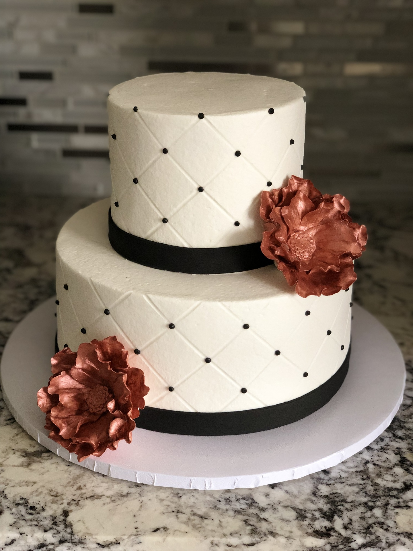 Rose gold flowers and quilt 50th birthday