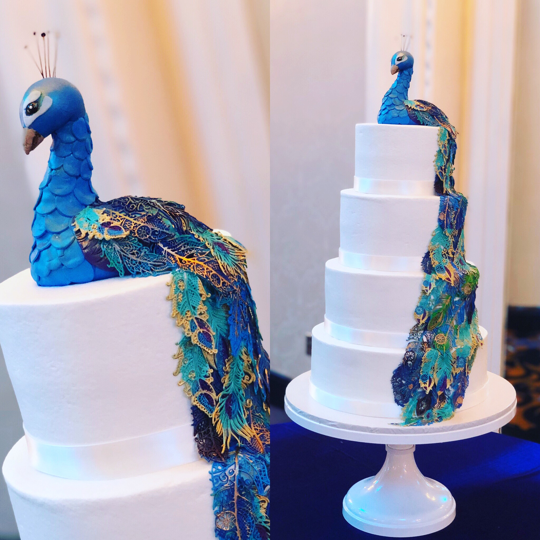 Peacock cake close up