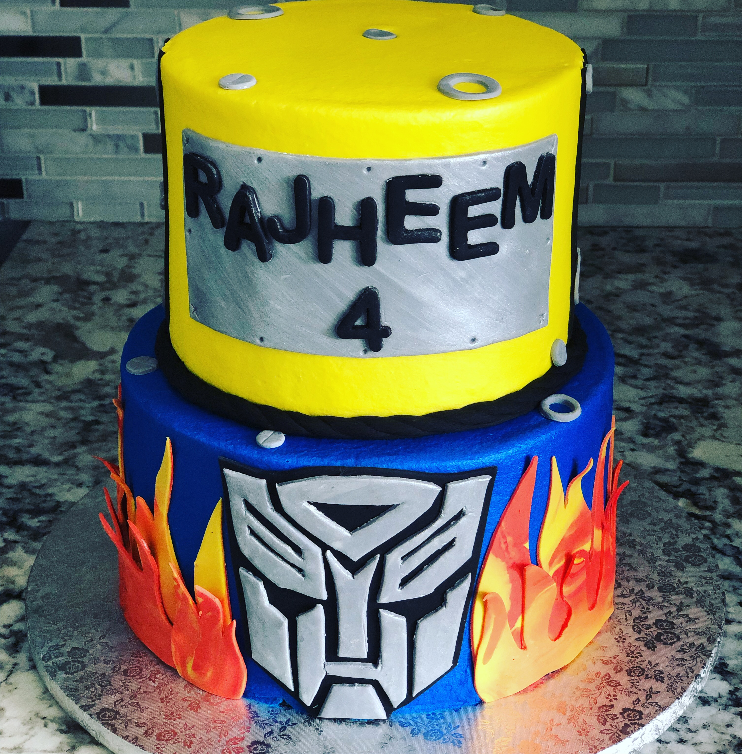 Transformers yellow and blue tiers with fire
