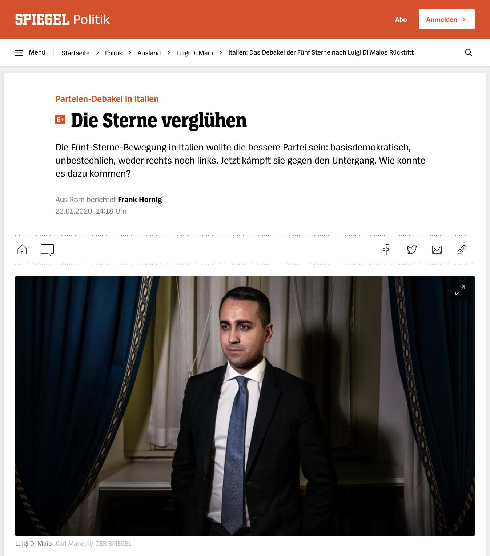 """Die Sterne verglühen"" Story on Italian minister of foreign affairs Luigi Di Maio with text by Frank Hornig Jan 2020"