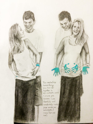 Drawing of a couple with a woman with blue stained hands showing she's pregnant with a boy