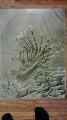 Spiky fish swimming on top of a coral reef drawn in charcoal