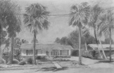 Family House drawn in pencil