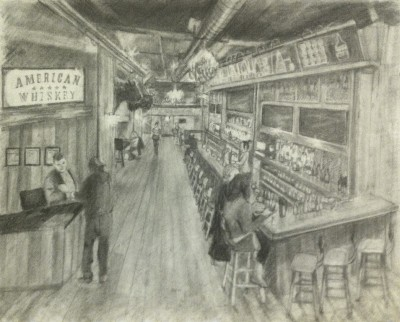A Bar scene drawn in pencil